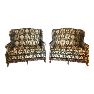 19th / Early 20th Century Settees / Canapes Rococo Style in Fine Fabric - a Pair For Sale