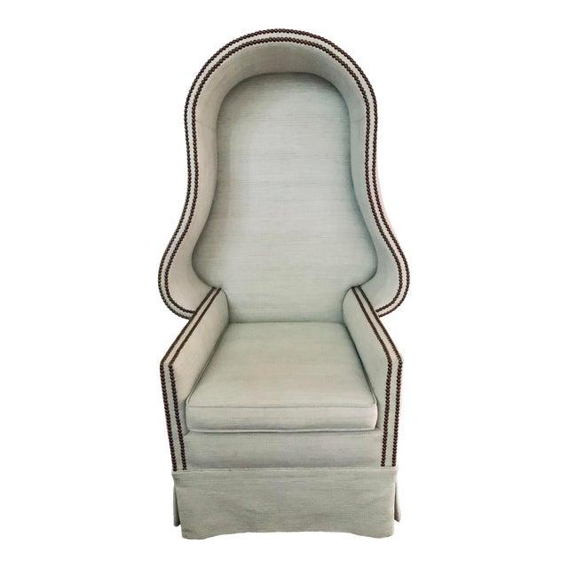 Light Blue Linen Custom Hooded Porters Canopy Chair For Sale