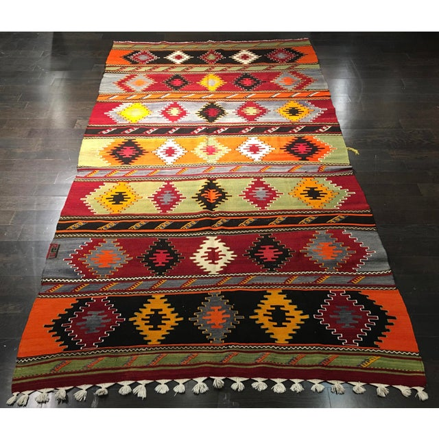 "Vintage Turkish Kilim Patterned Rug - 6'2""x11'3"" - Image 2 of 9"