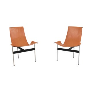 Katavolos, Kelley and Littell T-Chairs in Original Cognac Leather - 1970s For Sale