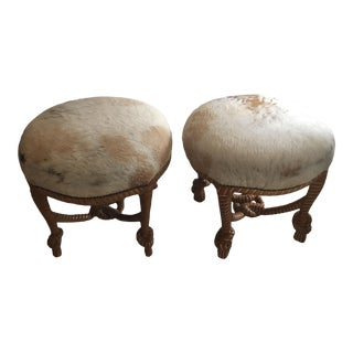 1980s Vintage Cal Mode Carved Twisted Wood Round Cowhide Stools - a Pair For Sale