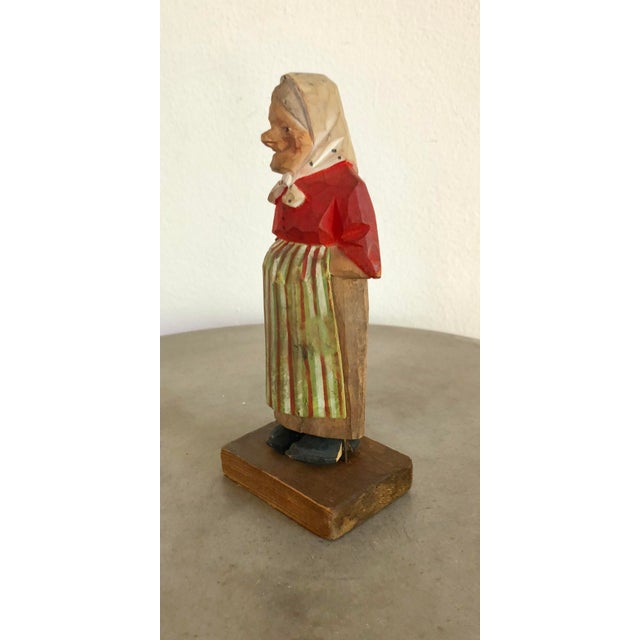 Vintage hand carved and hand painted wooden grandmother figurine. Very detailed painting and in good vintage condition,...