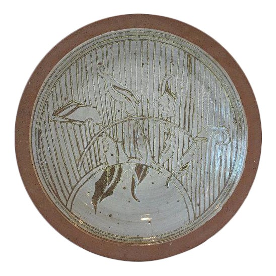 1970s David Westmeier Naturalistic Branch and Leaf Design Stoneware Pottery Ceramic Plate For Sale