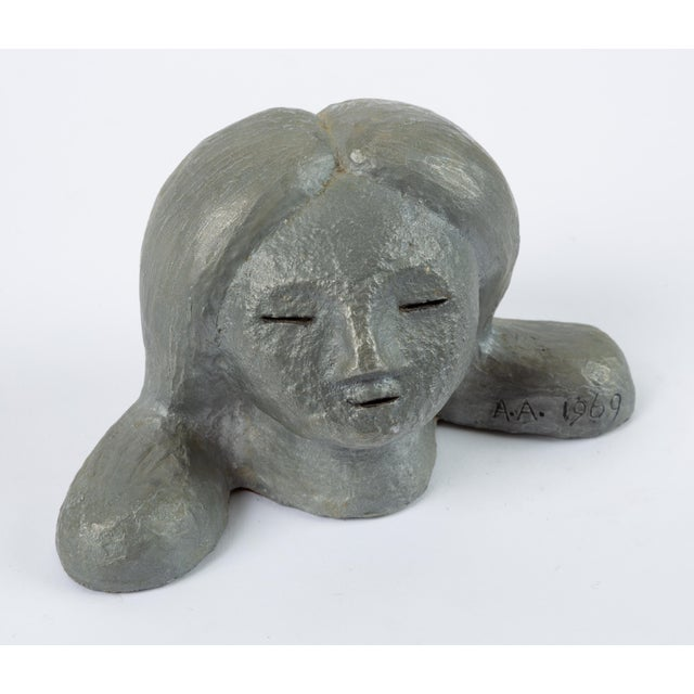 Gray Alexa Acuña Plaster Bust of a Young Child For Sale - Image 8 of 11