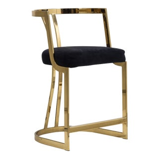 A Counter Height Brass Framed Upholstered Chair 1980s For Sale