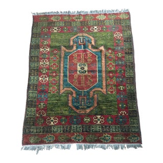"Turkish Rug With Green and Pop of Teal - 4'2"" X 5'5"""