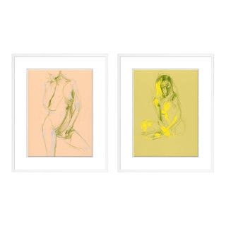 Figure 1& 3 Diptych by David Orrin Smith in White Frame, Medium Art Print For Sale