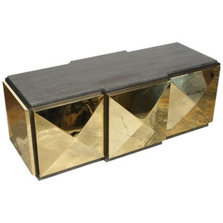 Paul Marra Brass Tile Cocktail Table For Sale
