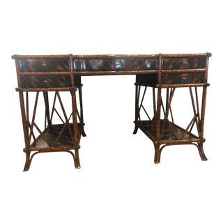 Hollywood Regency Maitland Smith Mottled Bamboo Desk For Sale