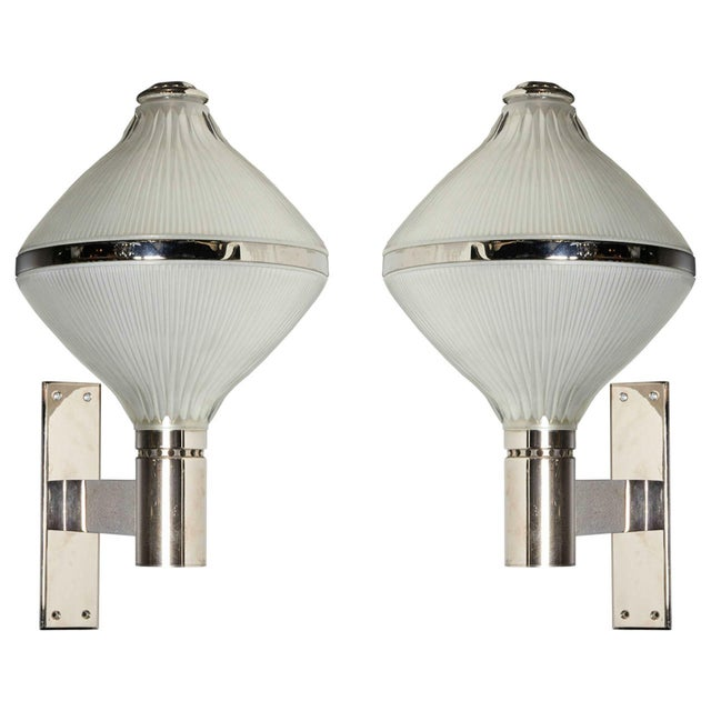 Chrome Mid-Century Modern Silver Plated/Glass Sconces by Sergio Mazza for Artemide - a pair For Sale - Image 7 of 7