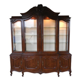 KARGES Model 430 French Louis XV Style Walnut Breakfront Lighted China Cabinet