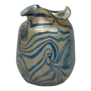 Art Nouveau Kralik Glassworks Loetz Type Blue on Gold Art Glass Vase For Sale