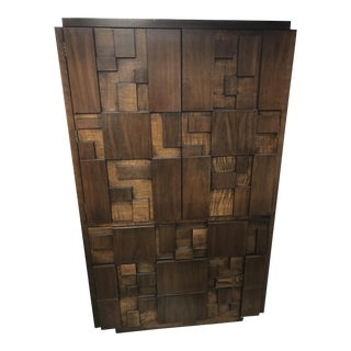 Mid Century Modern Brown Wooden Armoire
