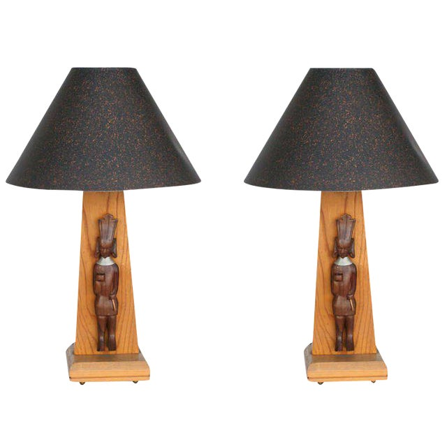 Mid-Century Modern Mid-Century Table Lamp With African Carving Pair For Sale - Image 3 of 8