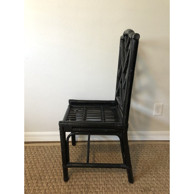 1980s Regency Black Bamboo Side Chair For Sale In Houston - Image 6 of 11