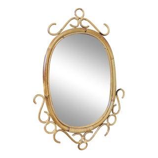 Vintage Rosenthal Netter Italian Rattan Mirror For Sale