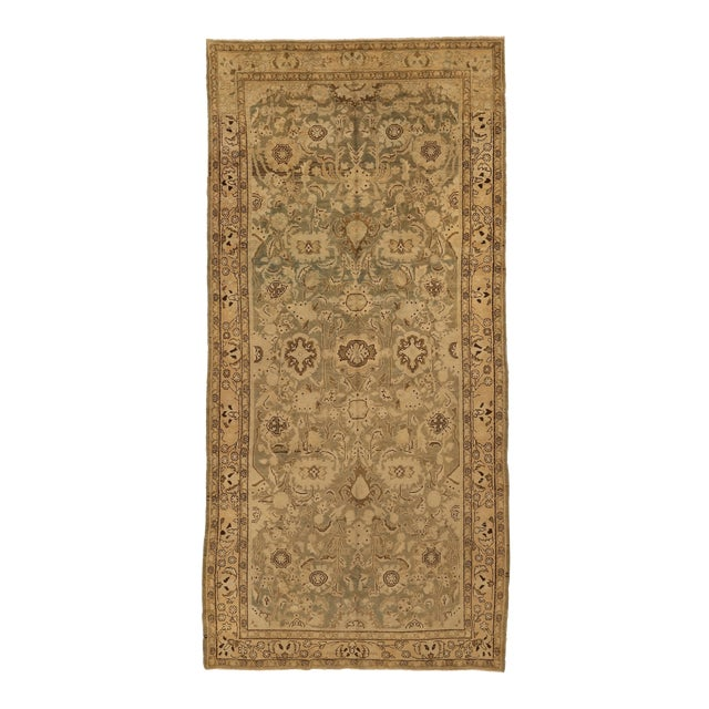 Antique Persian Malayer Rug With Beige & Brown Botanical Details on Ivory Field- 5′6″ × 11′8″ For Sale
