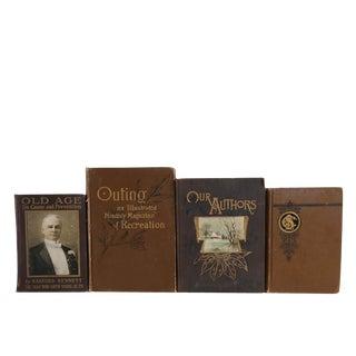 Antique Brown Display Set - Set of Four Decorative Books