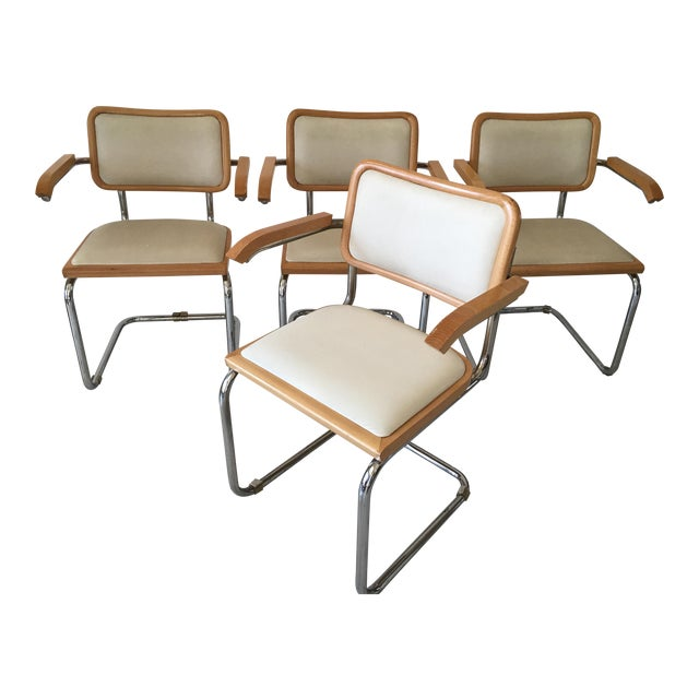 Italian Chrome Cantilever Chairs - Set of 4 For Sale