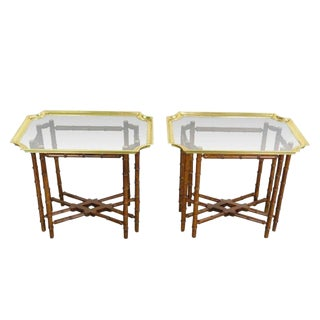 Pair of Brass Trim and Glass Tray-Top Faux Bamboo Side/End Tables by Baker For Sale