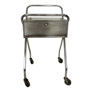 Petite Industrial Rolling Table For Sale