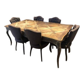 Raw Wood and Upholstery Dining Room Set For Sale