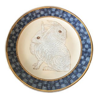 Mid-20th Century Art Nouveau Rabbit Bunny Gold Blue Porcelain Platter For Sale