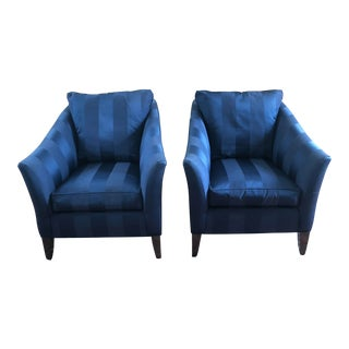 Ethan Allen Blue Club Chairs - A Pair
