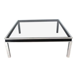 1970s Mid Century Modern Smoked Glass Coffee Table For Sale