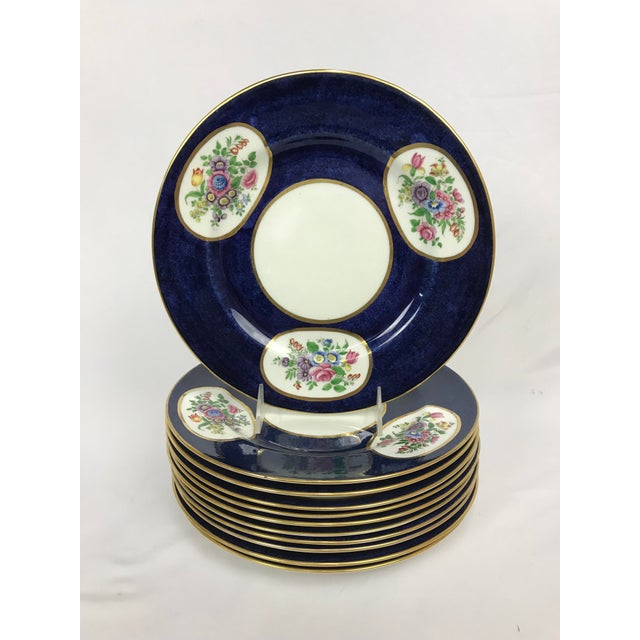 Ceramic Crown Staffordshire Cobalt Blue Hand Painted Flowers Dining Plates - Set of 12 For Sale - Image 7 of 7