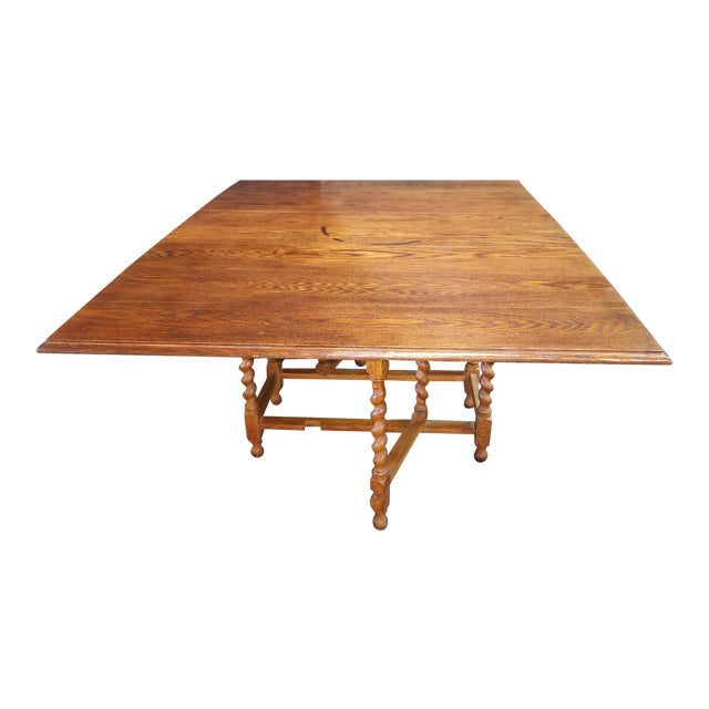English Oak Drop Leaf Table For Sale
