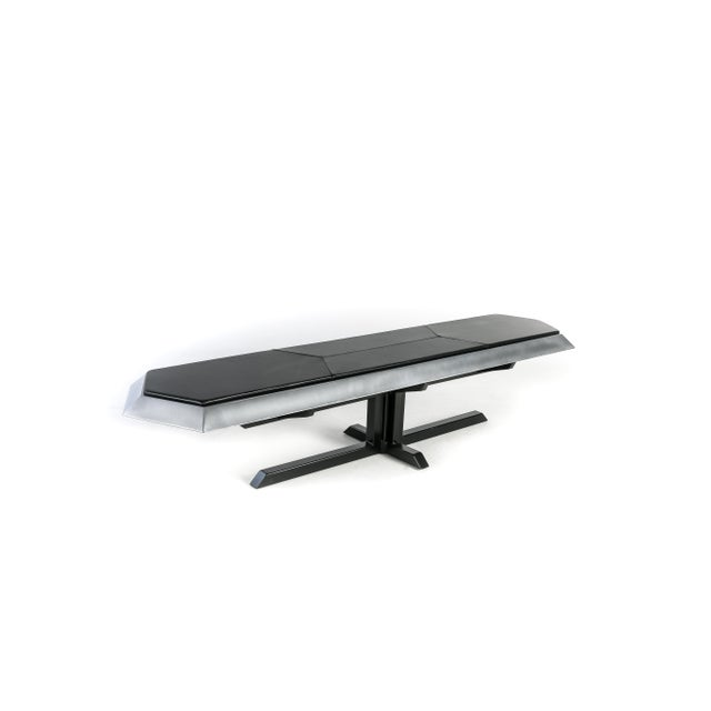 Brutalist Contemporary Topher Gent Bench No. 10 Steel Leather Cantilever Bench For Sale - Image 3 of 9