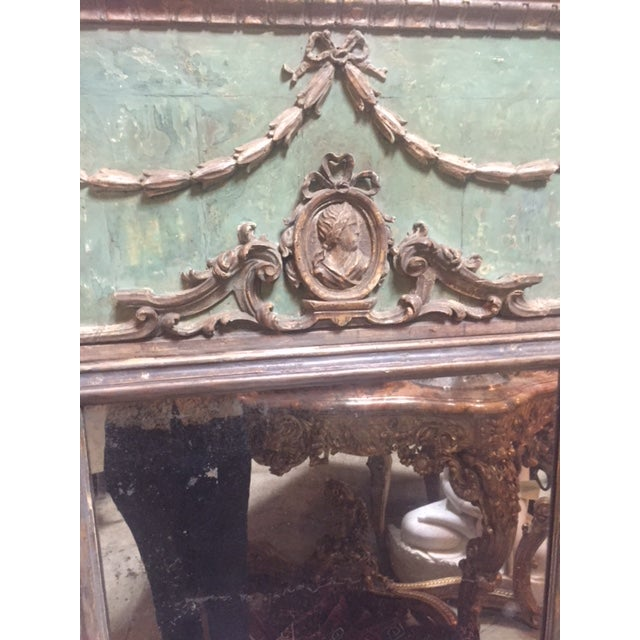 Italian Late 18th Century Italian Green & Gold Mirror For Sale - Image 3 of 12