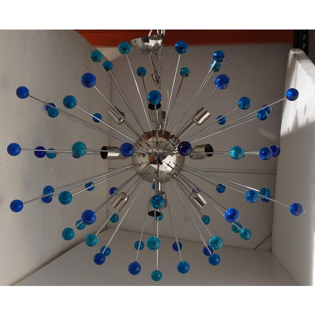 "Chandelier murano glass triedo sputnik multicolors very big metal frame in color kromo diameter 105 cm = 39.4 "" chandelier..."