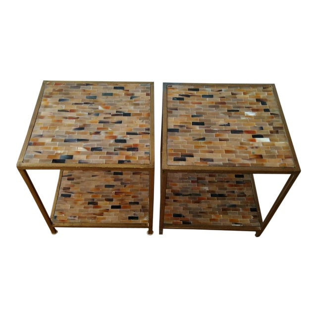 Aged Gold Finish Square Bone Top Tables - A Pair For Sale