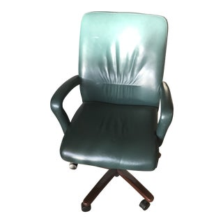 Green Leather Swivel Chair With Rolling Caster Wheels & a Mahogany Base For Sale