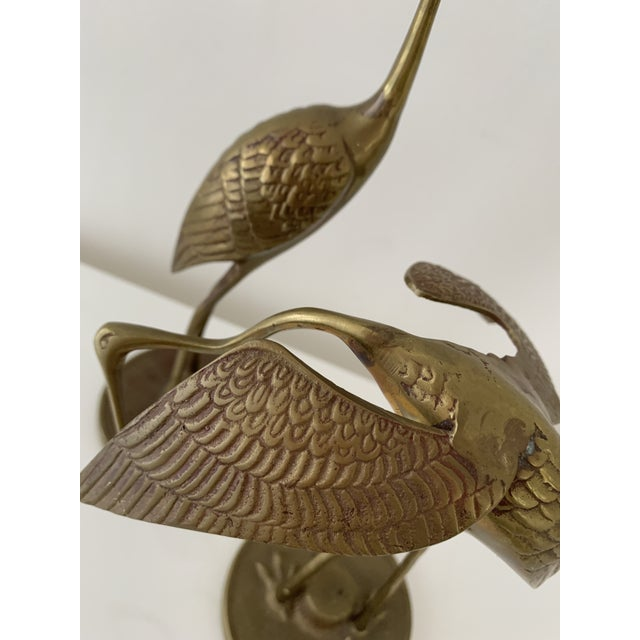 Brass Crane Figurines - a Pair For Sale In Miami - Image 6 of 10