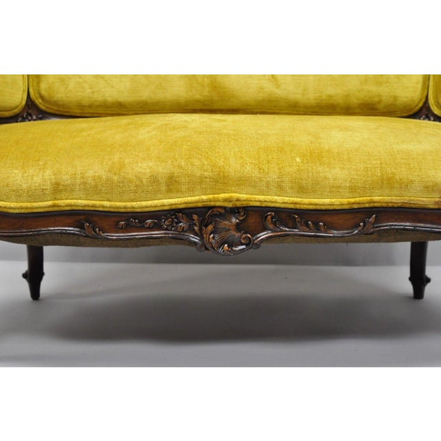 Antique French Louis XV Style Finely Carved Mahogany Settee Loveseat For Sale In Philadelphia - Image 6 of 11
