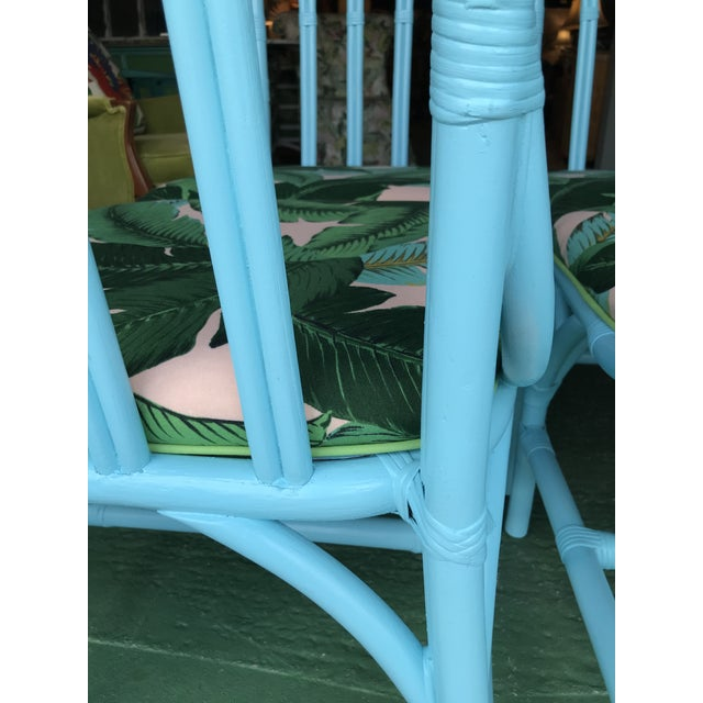 Lexington Furniture Coastal Regency Lexington Cathedral Turquoise Palm Leaf Upholstered Chairs-Four For Sale - Image 4 of 12