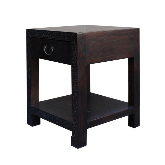 Chinese Oriental Brown Dragon Rim Carving End Table Nightstand For Sale - Image 4 of 7
