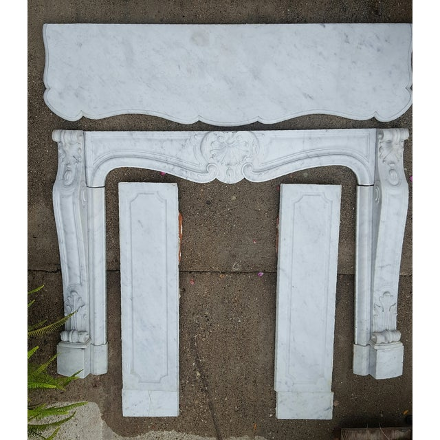Antique Louis XV Style Carrara Marble Fireplace - Image 8 of 10