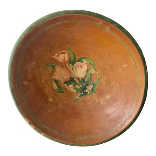 Antique Hand Painted Wood Bowl For Sale