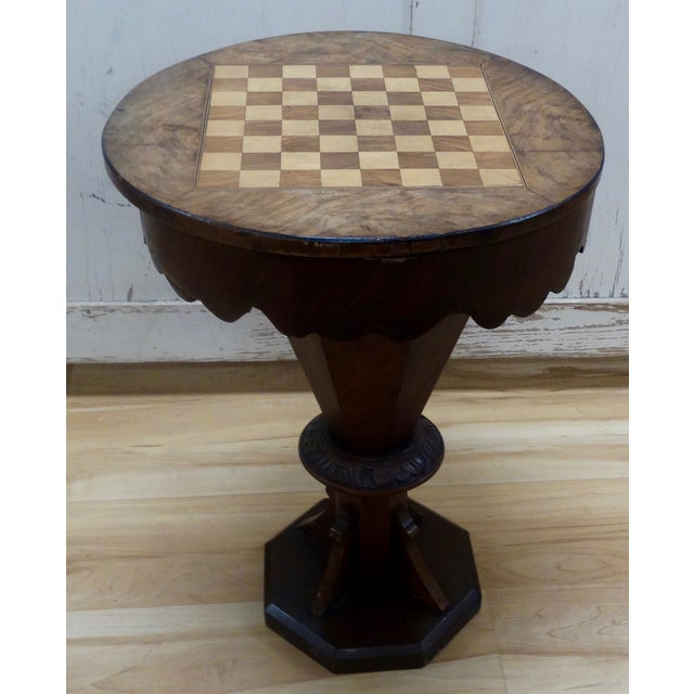 English Pedestal-Style Chess Table - Image 2 of 4
