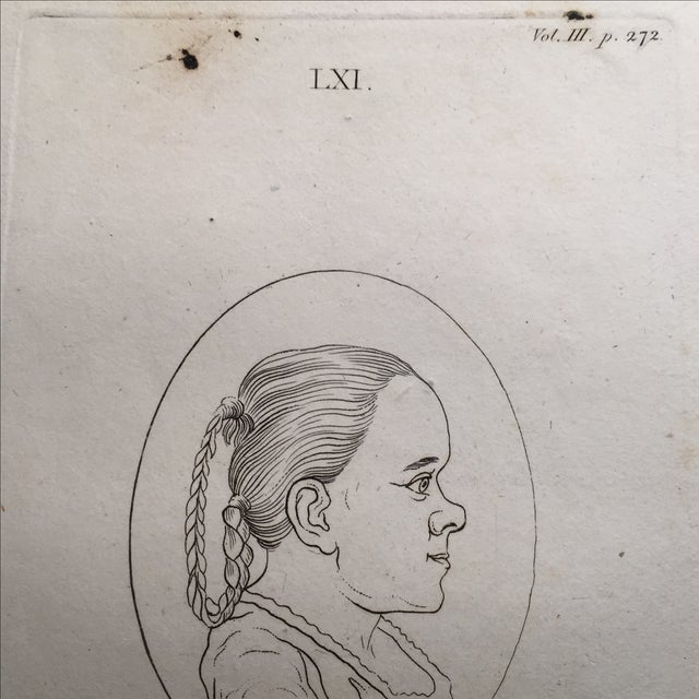 Early American Girl in Profile Antique Physiognomy Art Print, 1804 For Sale - Image 3 of 3