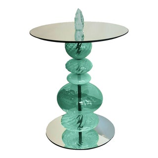 Abacus Glass Tea Table by the Drawing Room Atl in Finish Verdigris - Size: Tall / Gueridon - Modern Sofa Table in Colorful Green Glass