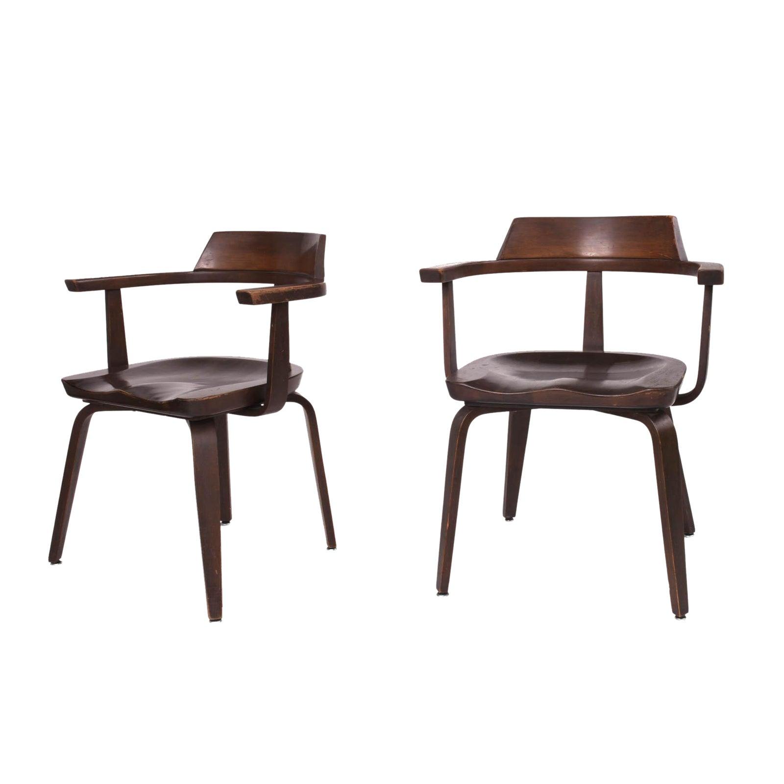 1951 Vintage Walter Gropius For Thonet German Bauhaus W199 Chairs