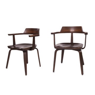 1951 Vintage Walter Gropius for Thonet German Bauhaus W199 Chairs - A Pair For Sale