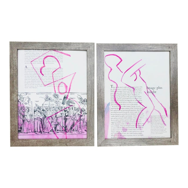 Image Plus Insight Abstract Framed Paintings by Virginia Chamlee For Sale