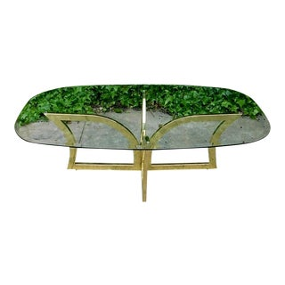 1980s Art Deco Glass & Brass Coffee Table For Sale