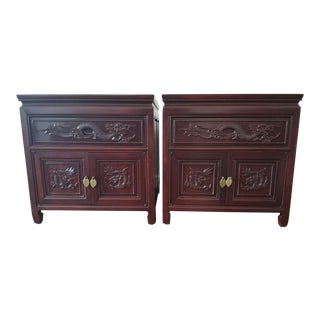 1980s Vintage Asian Rosewood Side Tables - A Pair For Sale